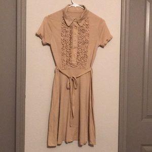 Beige Ruffled Breast Dress